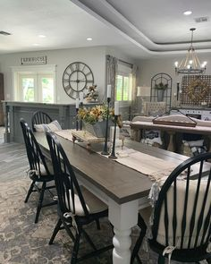 Designed by @ourrusticparadise Furniture, House, Farmhouse Dining Room, Halloween Decorations, Dining Table, Table, Home Decor, Rustic Dining Table, Dining Room