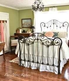 IN LOVE WITH THIS BED. See the before and after of this antique iron bed. Saving the antique iron bed by Far Above Rubies: Antique Iron Beds, Wrought Iron Beds, Rod Iron Beds, Home Bedroom, Bedroom Decor, Bedroom Furniture, Boudoir, Brass Bed, Deco Boheme