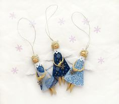 Three Christmas Angels Tree Decorations in Blue - Eco-friendly holiday decor on Etsy, $19.28 CAD