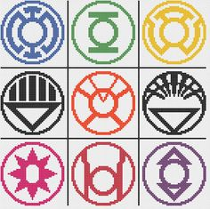 Lantern Corps logos 9 counted cross stitch by CapesAndCrafts Counted Cross Stitch Patterns, Cross Stitch Embroidery, Fake Geek Girl, Pixel Art Templates, Stitch Witchery, Geek Crafts, Perler Patterns, Cross Stitching, Beading Patterns