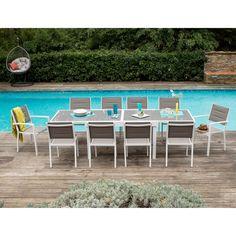 Salon jardin Aluminium Table extensible 135/270cm + Chaises et Fauteuils empilables MODENA Squareline port offert