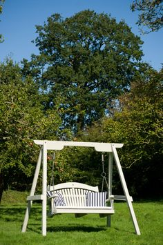 """The Harmony Range of garden swing seats are created from highly durable and preservative treated pine. This is obtained from an FSC """"chain of custody"""" source and once the swing seat is completed it is then finished in either a choice of Farrow and Ball Exterior Eggshell or Cuprinol Garden Shades."""