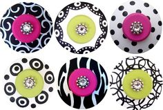 Love these! HANDPAINTED jeweled knobs for dresser drawers