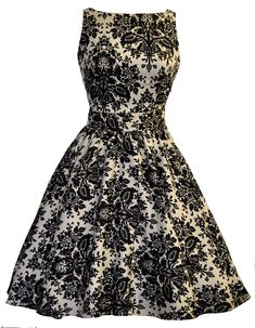 "This Classic ""Lady Vintage"" 50s Tea Dress features a 50s style flared skirt with a..."