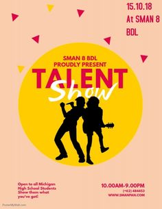 Copy of Talent Show Flyer Template Flyer Design Templates, Flyer Template, Britain Got Talent, Talent Show, High School Students, Design Show, Ministry, Nursery, Branding
