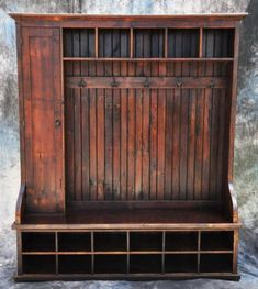 Large Mudroom or entryway reclaimed wood bench with door and hooks!-Except add some additional closed storage, for example a roll down door over the cubbies. Solid Wood Furniture, Diy Furniture, Rustic Furniture, Antique Furniture, Furniture Online, Modern Furniture, Refinished Furniture, Primitive Furniture, Furniture Removal