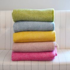 Mosaic Pure New Wool Luxury Throw by Ville et Campagne, the perfect gift for Explore more unique gifts in our curated marketplace. Cashmere Throw Blanket, Wool Blanket, Pale Pink, Pink And Green, Yellow, Luxury Throws, Bright Colours, Yorkshire, Color Combos
