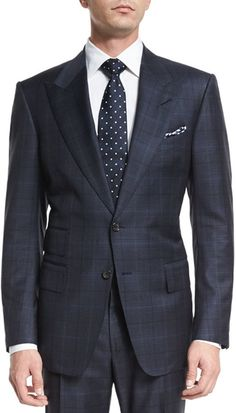 Tom Ford Windsor Base Over-plaid Two-piece Suit, Navy Tom Ford Tuxedo, Tom Ford Men, Tuxedo For Men, Mens Fashion Suits, Mens Suits, Mens Winter Suits, Tom Ford Shirts, Terno Slim, Look Formal