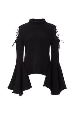 This **Houghton** Bene knit top features cutout lace-up shoulders and exaggerated bell sleeves.