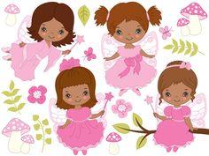 70% OFF SALE African American Fairy Clipart - Digital Vector Fairy, Girl, Fairytale, Fairy Clip Art