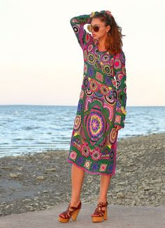 VERKAUFTEN Crochet Kleid Bohemia Hand-Strick-Kleid von Balarri