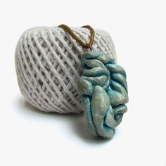Metallic clay art pendant, Quirky necklace in cyan blue, Gold and blue modern necklace, Twisted wearable art, Eco clay, Distressed jewelry