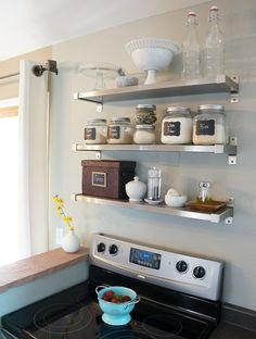Shelves in small kitchen.