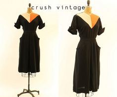 40s Rayon Dress S  / 1940s Chevron Colorblock by CrushVintage