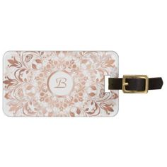 Rose Gold  White Floral Mandala Monogram Bag Tag - floral gifts flower flowers gift ideas