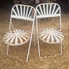 Excited to share this item from my shop: Francois Carre Art Deco Antique Sunburst Folding Chairs / French Spring Steel Folding Bistro Chairs / Pair / Patio Furniture Vintage Office Chair, Vintage Dining Chairs, High Back Dining Chairs, Gray Dining Chairs, Industrial Dining Chairs, Antique Chairs, Office Chairs, Accent Chairs, Vintage Patio