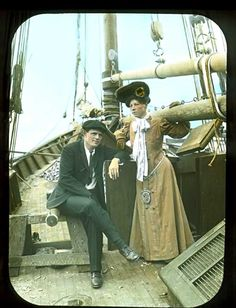 magic lantern slide of Jack London and his wife Charmian aboard the Snark