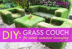 Love this idea except mowing might be a problem! DIY lawn couch for sweet summer lounging.
