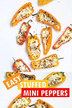 That's all you need to make goat cheese mini stuffed peppers with Everything bagel seasoning, a perfect, easy side dish or party appetizer. Goat Cheese Recipes, Cheese Snacks, Goat Cheese Appetizers, Low Carb Stuffed Peppers, Cheese Stuffed Peppers, Low Carb Recipes, Cooking Recipes, Low Carb Vegetables, Veggies