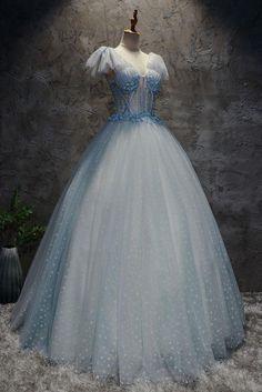 Light blue tulle long prom dress, blue tulle evening dress