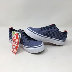 low priced ed06e 2dfb1 VANS BISHOP SLIP ON CHECK NAVY RED SKATE CASUAL SNEAKERS YOUTH SIZE 10.5  NEW WOB  fashion  clothing  shoes  accessories  kidsclothingshoesaccs   unisexshoes ...