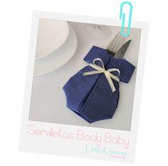 Fiestas DIY: Servilletas Body Baby - Little Kimono Handmade ❣ Baby Shower Napkins, Baby Shower Crafts, Boho Baby Shower, Baby Boy Shower, Baby Shower Decorations, Paper Napkin Folding, Paper Serviettes, Baby Shower Souvenirs, Origami Paper Art