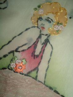 SWEET HEART VINTAGE TINTED EMBROIDERED BALLERINA VOGART PILLOW COVER FLAPPER | eBay