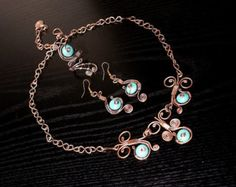 Turquoise Necklace Wire Wrapped Jewelry Handmade by BeyhanAkman