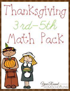 Free Thanksgiving Math Pack (3rd-5th) -