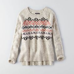 AEO Textured Pullover Sweater ($50) ❤ liked on Polyvore featuring tops, sweaters, oatmeal, sweater pullover, white sweater, american eagle outfitters, crewneck sweater and print pullover