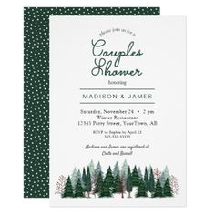 Pine Trees Forest | Couples Shower | Invitation - tree wedding gifts marriage unique special customize