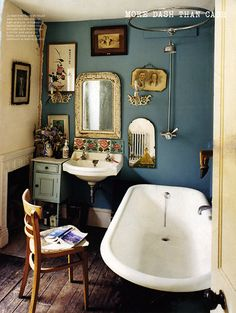 lovely - I would love a bathroom arranged like this and with a lovely old rolltop bath. Gorgeous