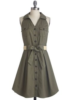 Braai Invite Dress - Mid-length, Green, Solid, Buttons, Pockets, Casual, Safari, Tan / Cream, Shirt Dress, Halter, Belted, Button Down, Collared, Fit & Flare, V Neck, Top Rated