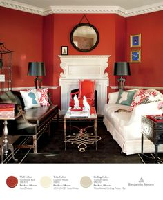 """""""Draw attention to traditional elements by using a bold, rich color on the walls—like Cochineal Red CW-330 from our Williamsburg collection, shown here in Aura, Matte. Notice how it makes the dentil molding pop!"""""""