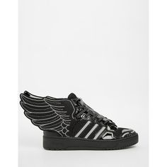 adidas Originals by Jeremy Scott Black 2.0 Mesh Wing High Top Sneakers ($224) ❤ liked on Polyvore featuring shoes, sneakers, black, lace up sneakers, black shoes, adidas trainers, black high top sneakers and black hi tops