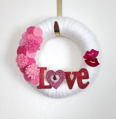 Groovy Love Wreath, Pink and Red Wreath, Valentine Wreath, Small 10 inch size - Ready to Ship