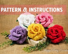 Crochet Rose Pattern and Instructions - Crochet Flower Pattern - Crochet Pattern - Brooch Pattern - Vieng Ping Rose - INSTANT DOWNLOAD