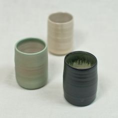 Stoneware Tumbler - Muhs Home - $26 - diaphanous white, cecelia green, cast iron black