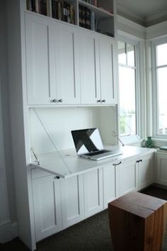 55 Cheap Home Office Cabinet Design Ideas For Easy Organization Storage - You might be surprised at some of the places that a home office can be found. There is a reason for an increase in home office interior design. In tod. Built In Desk, Home Office Cabinets, Home, Bedroom Storage, Built In Shelves, Desk Storage, Hidden Desk, Remodel Bedroom, Office Cabinet Design