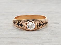 .50 Carat Victorian Gold and Black Enamel Engagement Ring