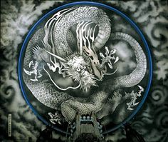 Dragon, Ceiling Painting at Tenryū-ji Temple 天龍寺, Kyoto. Rinzai Zen Sect. Tenryū-ji is also a World Heritage Site.
