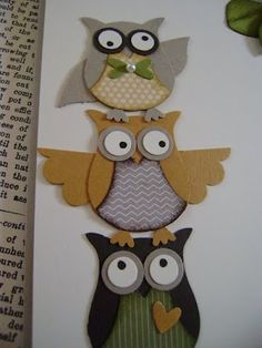 Owl Punch, distinguished looking group! Owl Punch Cards, Owl Card, Paper Owls, Owl Crafts, Bird Cards, Card Tags, Card Kit, Scrapbook Cards, Scrapbook Albums