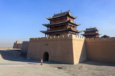 An ancient fort at Jiayuguan on the Chinese Silk Road, China