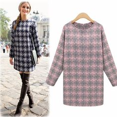 long-sleeved plaid was thin loose big yards casual dress women http://mobwizard.com/product/2015-new-fashion-win32253497161/