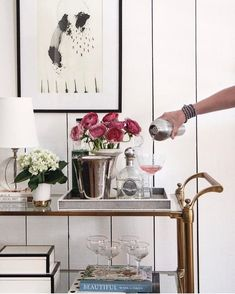 """Outstanding """"gold bar cart decor"""" detail is offered on our site. Check it out and you wont be sorry you did. Diy Bar Cart, Gold Bar Cart, Bar Cart Decor, Bar Carts, Interior S, Interior Decorating, Interior Design, Outside Bars, Metal Tree Wall Art"""