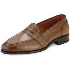 Tom Ford Taylor Burnished Leather Penny Loafer (1,818,845 KRW) ❤ liked on Polyvore featuring men's fashion, men's shoes, men's loafers, brown, mens brown shoes, tom ford mens shoes, mens loafer shoes, mens slip on shoes and mens leather loafer shoes