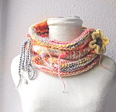 Infinity Scarf Knit with Flower Brooch  knit by whitewolfsclouds