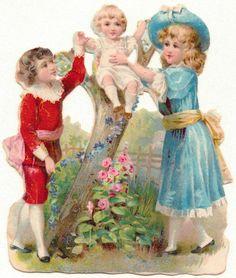 Oblaten-Glanzbilder-scrap-chromo:  3 Geschwister beim Spielen - um 1900 de.picclick.com