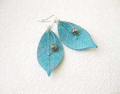Turquoise Blue Silver Leaves Clay Earrings by smafactory on Etsy, $23.00