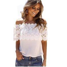 Encontre mais Blusas Informações sobre Feitong women branca top blusas  femininas Sexy blusa de renda ombro 6cb06550654c